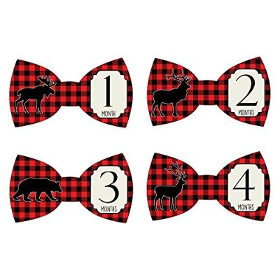 Gift Set of 12 Bowtie Keepsake Photography Monthly Baby Stickers with North Woods Moose, Elk and...
