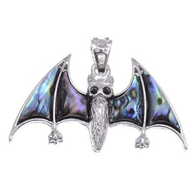 Alilang Faux Abalone Small Cute Spooky Flying Bat Silvery Tone Fashion Necklace Pendant