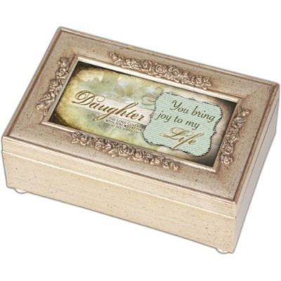 Cottage Garden Daughter Champagne Silver Petite Rose Music Box / Jewellery Box Plays Amazing Grace