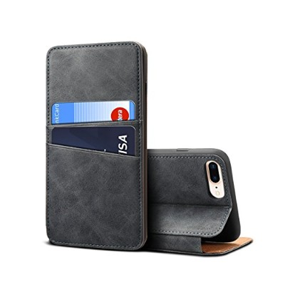 iPhone 7 Plus iPhone 8 Plus Case, Moonmini Luxury PU Leather Wallet Flip Protective バックシェル Case...