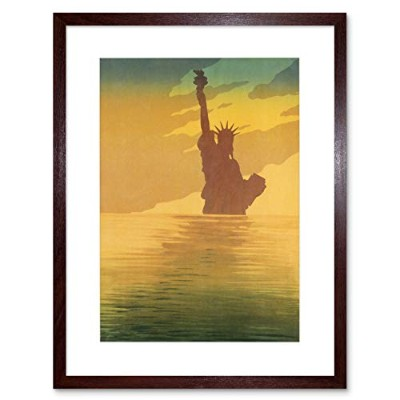 Travel Statue Of Liberty Painting Framed Wall Art Print 旅行像自由ペインティング壁