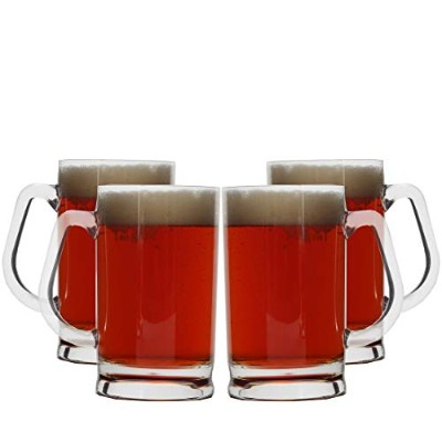 Lily's Home Acrylic Plastic Classic Beer Mug - 470mls Outdoor Beer Mugs (Set of 4)