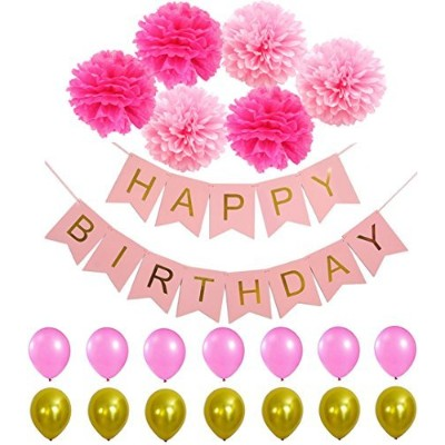 Happy Birthday Banner PomPom Decorations - Perfect Party Supplies Kit, Pink Gold Foiled Bunting...