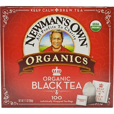 Newman's Own Organics Tea, Organic Black Tea, 100 Individually Wrapped Tea Bags, 7.1 Ounce (Pack of...