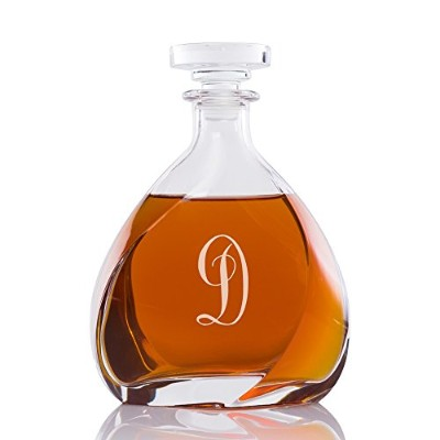 (D) - Abby Smith Lavish Style Initial Engraved Liszt Decanter, Letter D