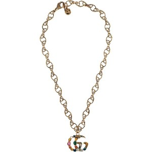 Gucci Crystal Double G necklace - メタリック