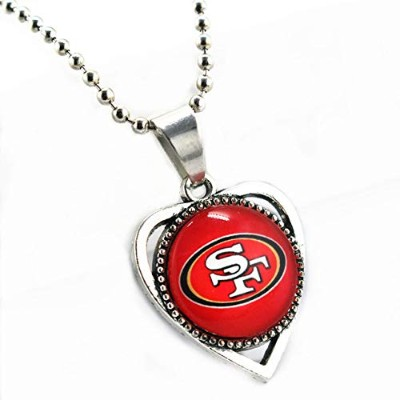 Football Sports Casual Zinc Alloy Heart San Francisco Team Silver Beads Pendant Chains Necklace ...