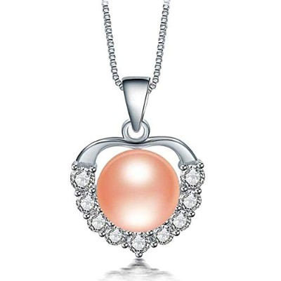High Luster Natural Apple Pink Freshwater Pearl Pendant Necklace