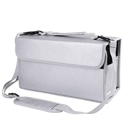 (Sliver) - 84 Slots Marker Pen Case, Multi-Layer High Capacity Extendable Foldable Carrying Marker...