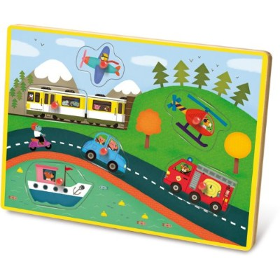 Vilac Musical Pegs Puzzle, Transports by Vilac