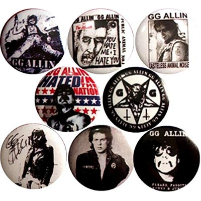 GG Allin x 8 1インチ (25 mm) ピンボタンバッジ Hated Punk jabbers Outlaw scumfuc