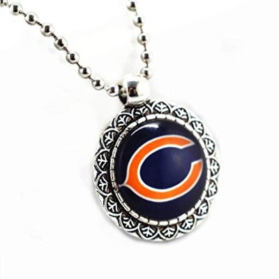 Zinc Alloy Chicago Bears Football Team Round Glass Silver Beads Chains Pendant Necklace [並行輸入品]