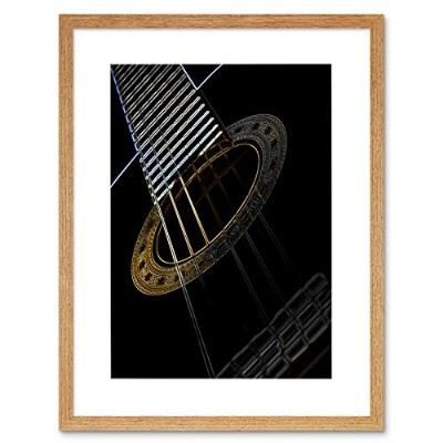 Guitar Neon Strings Glow Inverse Instrument Music Framed Wall Art Print ギター音楽壁