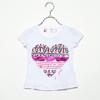 【SALE 50%OFF】デシグアル Desigual GIRL KNITTED SHORT SLEEVE T-SHIRT (White)