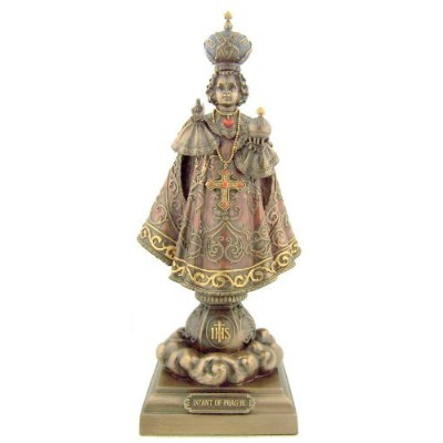 Holy Infant Jesus of Prague Colored Bronze Statue FigurineホームChapel宗教装飾