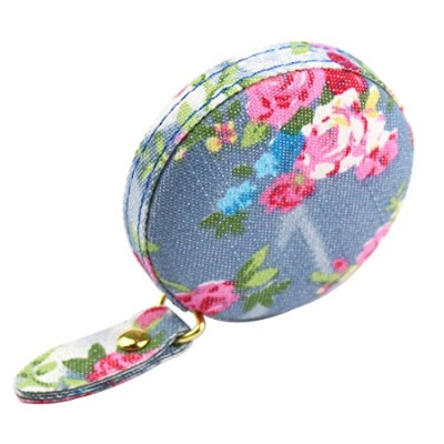 (dia 5.6cm, light blue floral) - Jesy retractable soft measure tape for sewing tailor,body...