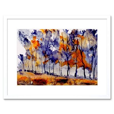 Painting Landscape Watercolour Abstract Forest Framed Wall Art Print ペインティング風景水彩抽象森林壁