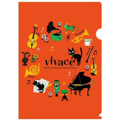 ◎A4クリアファイル vivace  VC1815-02 オレンジ 音楽雑貨