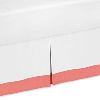 White and Coral Queen Bed Skirt for Teen Girls Diamond Collection Bedding Sets