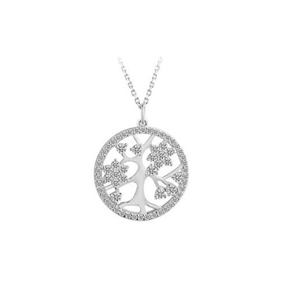 Sterling Silver Tree of Life Luxury Link Chain Pendant Necklace [並行輸入品]