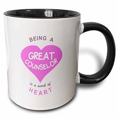 3dRose Being a Great Counsellor is a work of Heart. pink care giving job quote - Two Tone Black Mug...