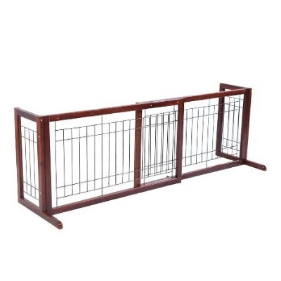 Wood Dog Gate Adjustable Indoor Solid Construction Pet Fence Playpen Free Stand by Goplus