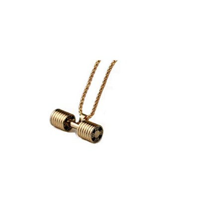 Gym Fitness Heavy Barbell Gold Color Dumbbell Pendants Necklaces for Men [並行輸入品]