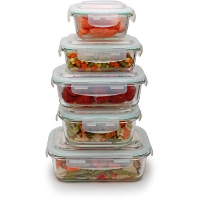 Circleware 59003/H 10 Piece Specially Tempered Glass Storage Container Set, 860ml, 330ml, 1040ml,...