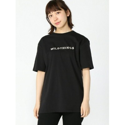 【SALE/50%OFF】WILD THINGS (W)【WEB店限定】【WILD THINGS】EMBROIDER T-SHIRT テットオム カットソー Tシャツ ブラック カーキ ホワイト