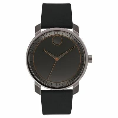 モバード MOVADO 腕時計 Bold Leather Strap Watch, 41mm Black/ Gunmetal
