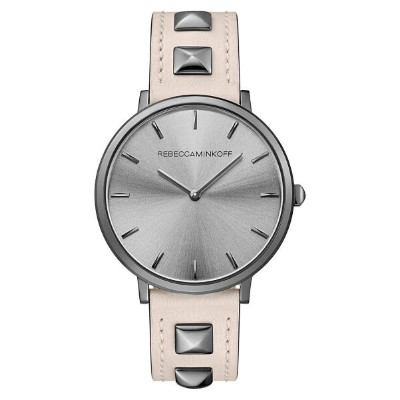 レベッカミンコフ レディース 腕時計 アクセサリー Rebecca Minkoff Major Stud Leather Strap Watch, 35mm Soft Blush/ Gunmetal