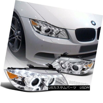 ヘッドライト 2006-2008 BMW E90 4D Halo Clear Projector Headlights+R8 LED DRL Strip Chrome 2006-2008 BMW...