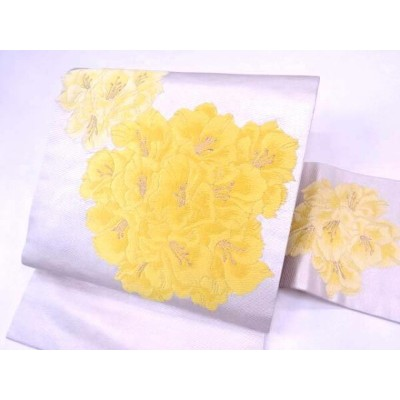 【IDN】 九寸名古屋帯 草花文様【リサイクル】【中古】【着】
