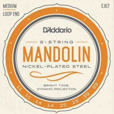 【DT】D'Addario マンドリン弦 EJ67 Nickel Steel Medium 011-039