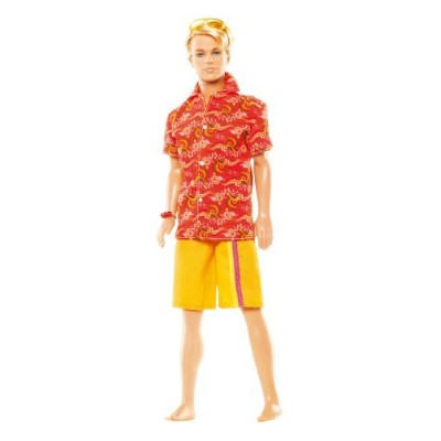 Barbie バービー Surf's Up Beach 12 Inch Doll - Ken in Hawaian Orange Shirt and Yellow Trunks with