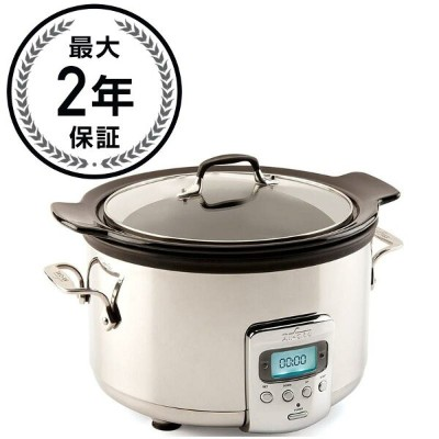 オールクラッド スロークッカー 3.8L セラミック内鍋 All-Clad Slow Cooker with Black Ceramic Insert and Glass Lid, 4-Quart...