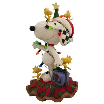 PEANUTS JIM SHORE フィギュア スヌーピー&ウッドストック -Decked Out For The Holidays-