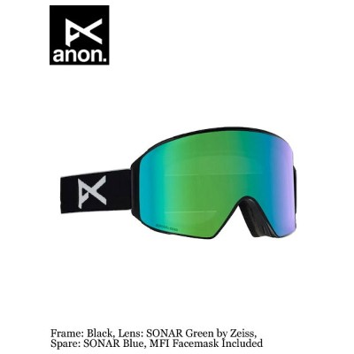 セール ANON アノン|18/19モデル M4 CYLINDRICAL - ASIAN FIT #Frame:Black,Lens:SONAR Green by Zeiss,Spare:SONAR...