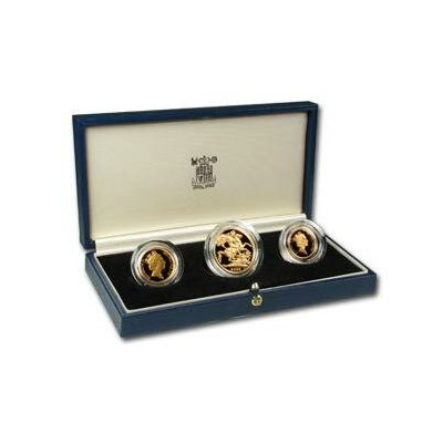 Great Britain 1988 3 Coin Gold Sovereign Proof Set