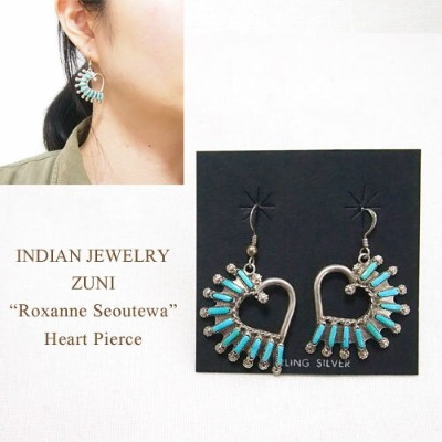 "OUTLET SALE インディアンジュエリー ズニ ""Roxanne Seoutewa"" ニードルポイント ターコイズ ハート ピアスINDIAN JEWELRY ZUNI Pierce"