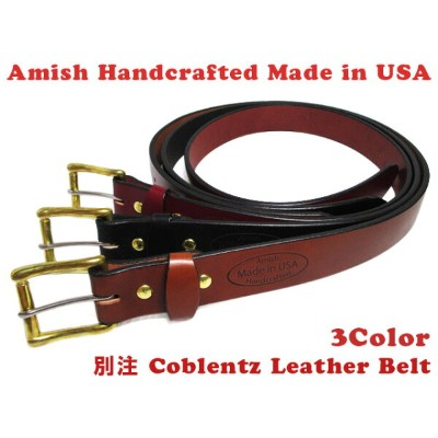 【30%オフ】【新品】 Amish Handcrfted 別注 Coblentz Leather Belt レザー ベルト Made in U.S.A 【カラー:BURGUNDY , BLACK , BROWN】【サイズ:32 , 34 , 36 , 3