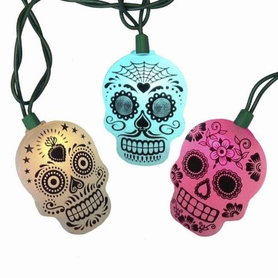 Day of the Dead Sugar Skull 10-LED Color-Change String Light ハロウィン・クリスマス・イルミネーション・ライト・電飾・シュガースカル...