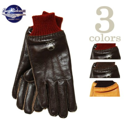 【 BUZZ RICKSON'S(バズリクソンズ) 】 A-10 LEATHER GLOVE レザーグローブ 再入荷! [ S/BROWN×RED RIB ] [ S/BROWN×BROWN RIB...