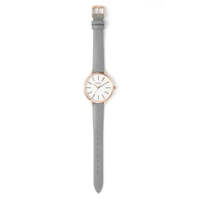 ブレダ レディース 腕時計 アクセサリー BREDA Joule Round Leather Strap Watch, 37mm Grey/ White/ Rose Gold