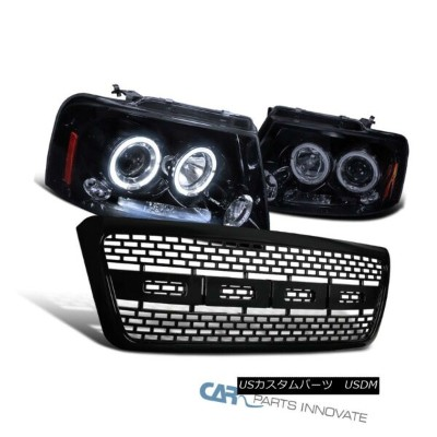 USグリル Ford 04-08 F150 Glossy Black Halo LED Projector Headlights+ABS Raptor Grille フォード04-08...