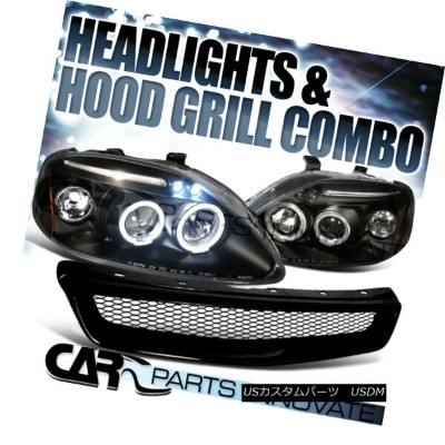 USグリル For 99-00 Honda Civic Black Halo LED Projector Headlights+Front Mesh Hood Grille 99-00ホンダシビックブ...