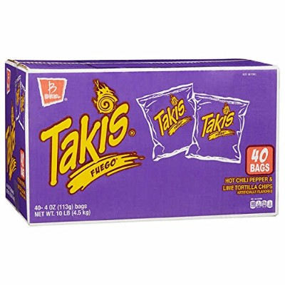 Takis Fuego Tortilla Chips, Hot Chili & Lime, 4 oz, 40-count タキス トルティーヤチップス ホットチリ&ライム 113g×40袋セット