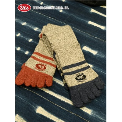UES(ウエス) MOKU-SOX / 杢5本指ソックス 5SX-H_03_L 2Col.GRAY*RED/NAVY Made in JAPAN ★【ネコポス便可(2足まで可)】