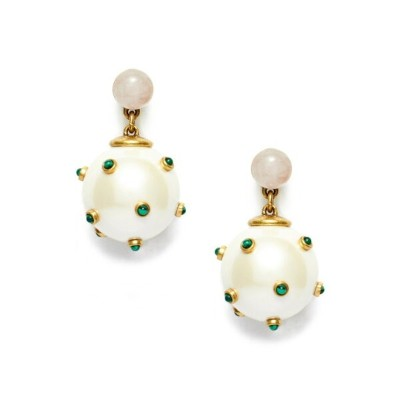 Tory Burch ピアス STUDDED STONE PEARL DROP EARRING 49962 レディース SHINY BRASS/MALACHITE/PINK/PEARL 749...