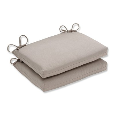 (Beige) - Pillow Perfect Indoor/Outdoor Beige Solid Seat Cushion, Squared, 2-Pack